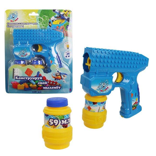 1Toy Мыльные пузыри Т15065 Мы-шарики! Пистолет на бат. совместимый с блочными конструкторами, свет, звук, бут. 2х59мл, н. б,