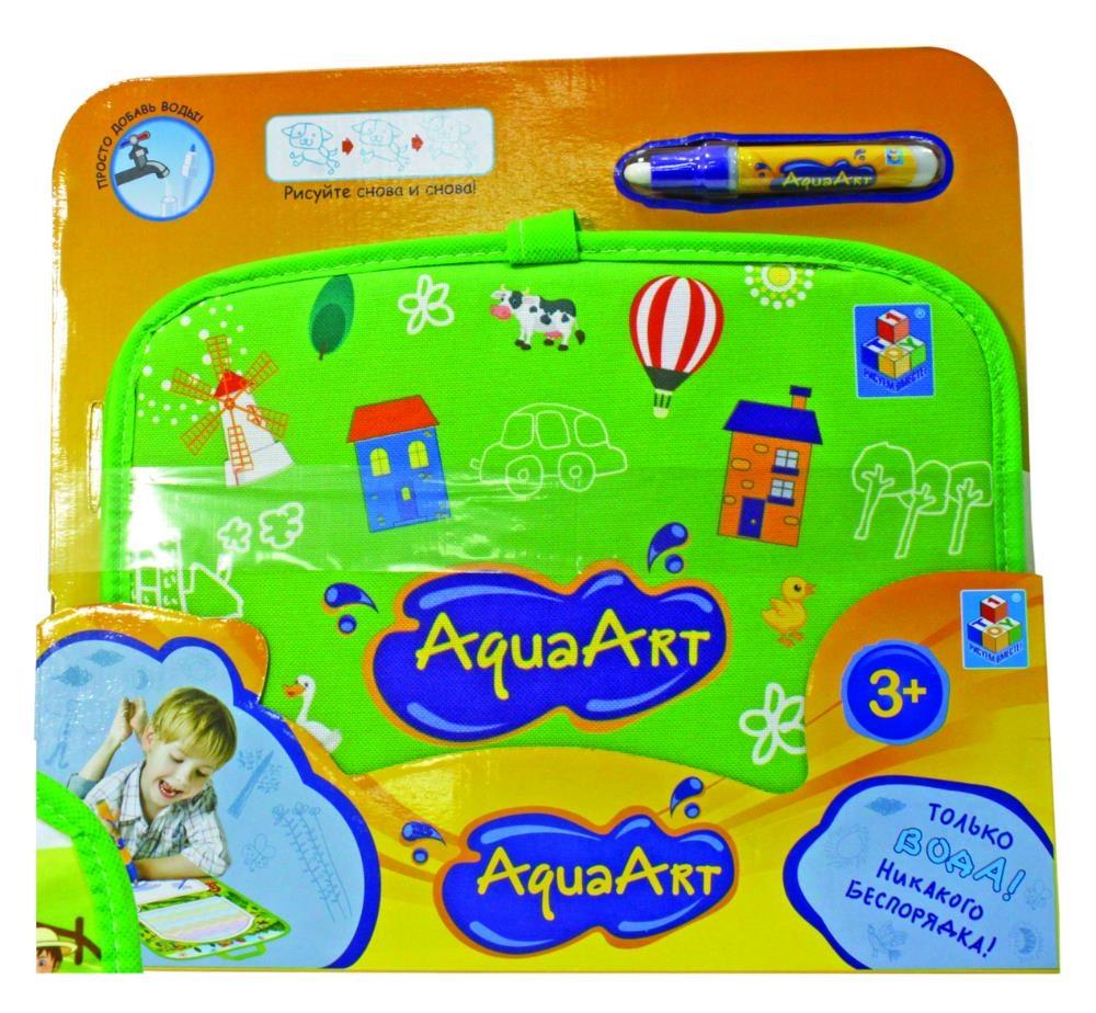 1Toy Aqua Art Т59403 Коврик для рисования с водным маркером, зеленый, чем. 47х30см, одно-разноцв. 32х30х2,5см в. к