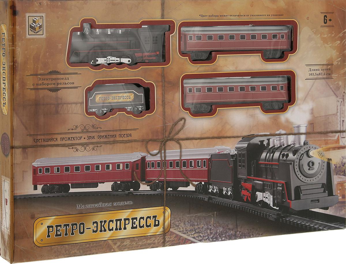 1Toy Ж. д Т10147 Ретро Экспресс, свет, звк, паровоз, 3 вагона, 21дет., длина путей 103,5х67,5см