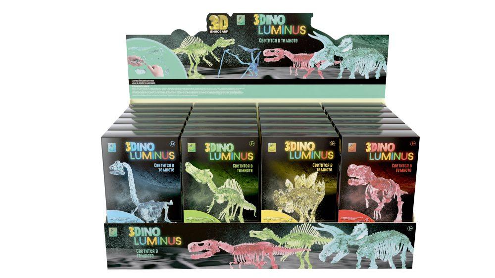1Toy 3-Dino Luminus Т16456 Люминисцентные динозавры 6в., 24шт. дисплей бокс