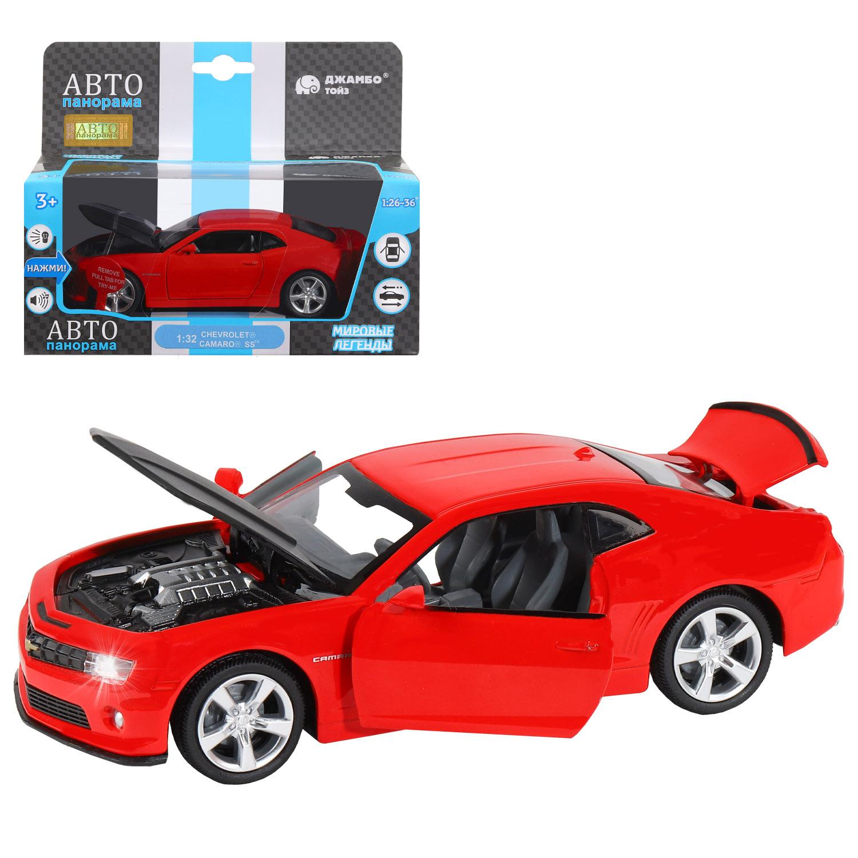 АВТОпанорама мод. металл. JB1251392 1:32 Chevrolet  Camaro  SS, красный, инерция, свет, звук, откр. двери в. к 17. 5х13. 5х9см