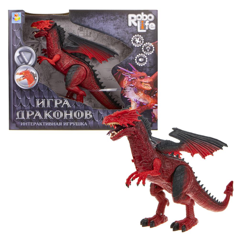 1Toy RoboLife Т17170 Интерактив. дракон (2АА в комп. входят) свет, звук, движение в. к 20х30. 5х6см, цв. красный
