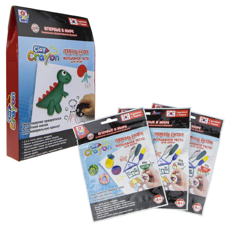 1Toy ART Clay Crayon Т19012 Набор тесто-мелков Динозавр (3цв. по 30г) в. к 13. 9x19x3см