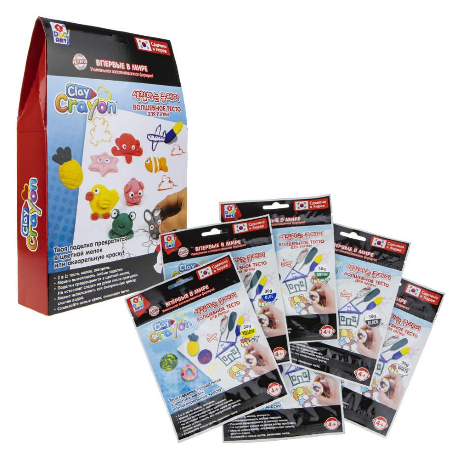 1Toy ART Clay Crayon Т19007 Набор тесто-мелков (6цв. по 30г) в. к 16. 5x25x4. 5см