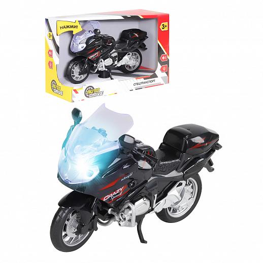 AUTODRIVE  Мотоцикл на бат., свет, звук, черный, в. к 21. 8х9. 3х14см