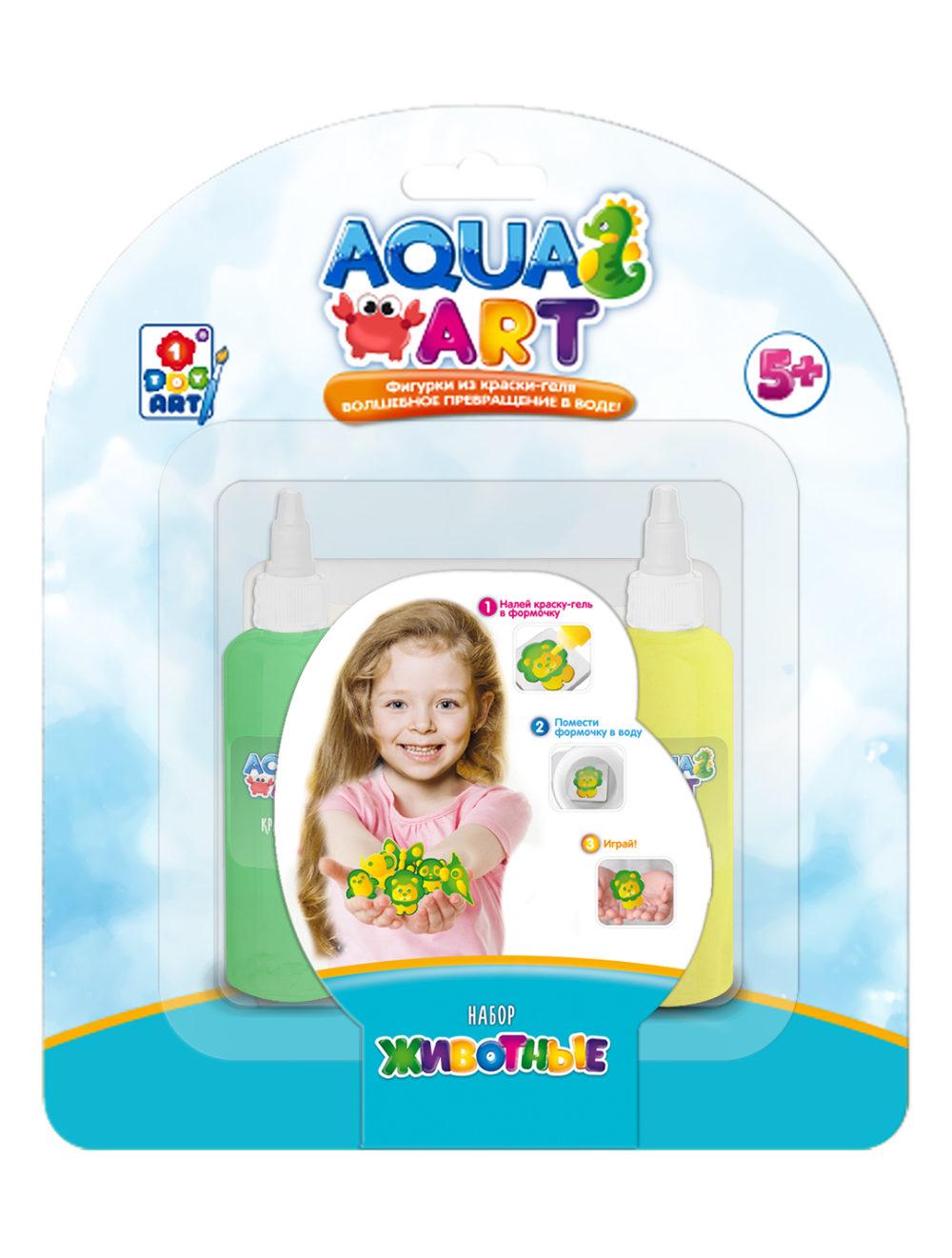 1Toy Aqua Art Т20074 Набор Животные (1 форм.,  2 краски по 50мл) н. б