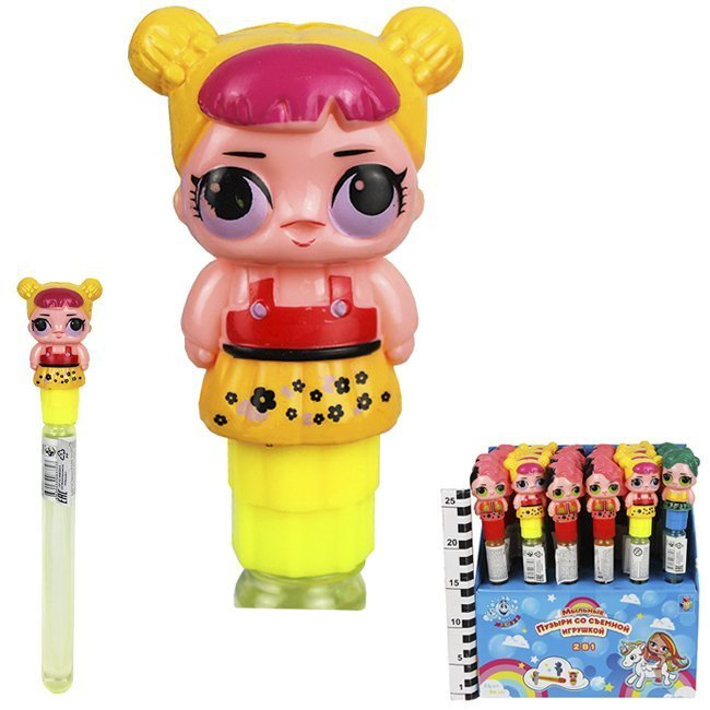 1Toy Мыльные пузыри Т15060 Мы-шарики! колба со съемной игрушкой Куколка, 80мл, д. б