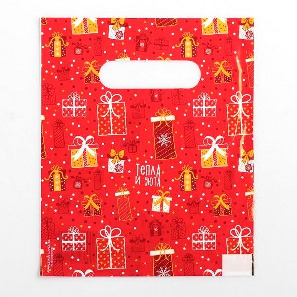 Дарите счастье  4350114 Пакет Подарки, полиэтиленовый с вырубной ручкой, 17х20см, 30мкм