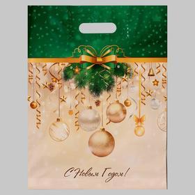 Пакет 5215258 Новогодние украшения, полиэтиленовый с вырубной ручкой, 40х31см, 60мкм