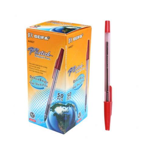 Beifa Ручка шарик. с металл. наконечником 0,4мм красная