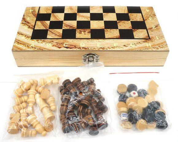 Игра настольная W2018-H 3-в-1 Шахматы, шашки, нарды, поле 24х24см