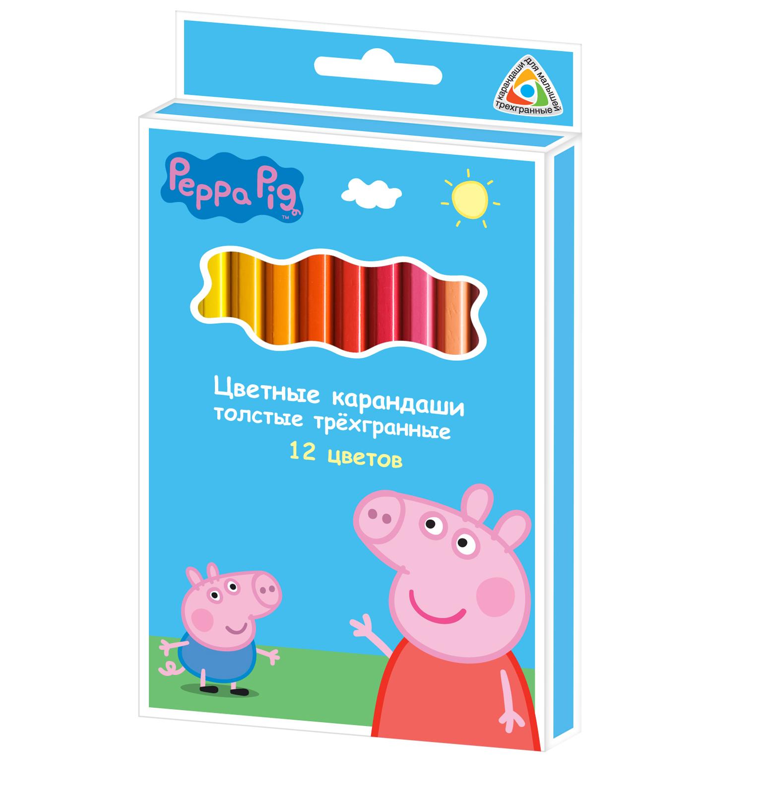 Росмэн  29109 Цвет. карандаши  толстые 12цв. Свинка Пеппа, тм Peppa Pig