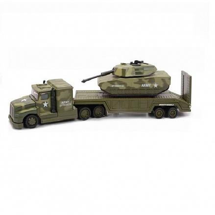 Mighty Wheels 78558 Военный перевозчик + танк 28см