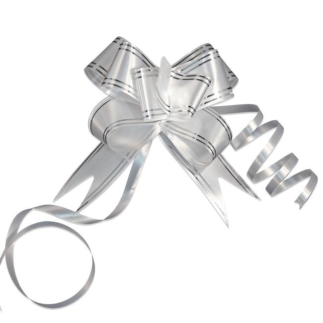 Pioneer-упаковка 44909 Набор бантиков 10шт, бабочка 30х500мм, белый с серебряными полосками