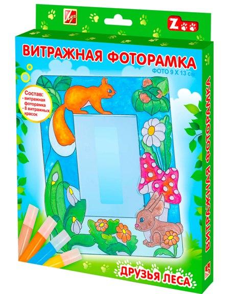 Луч  Краски витражные Друзья леса 8цв. европодвес с фоторамкой
