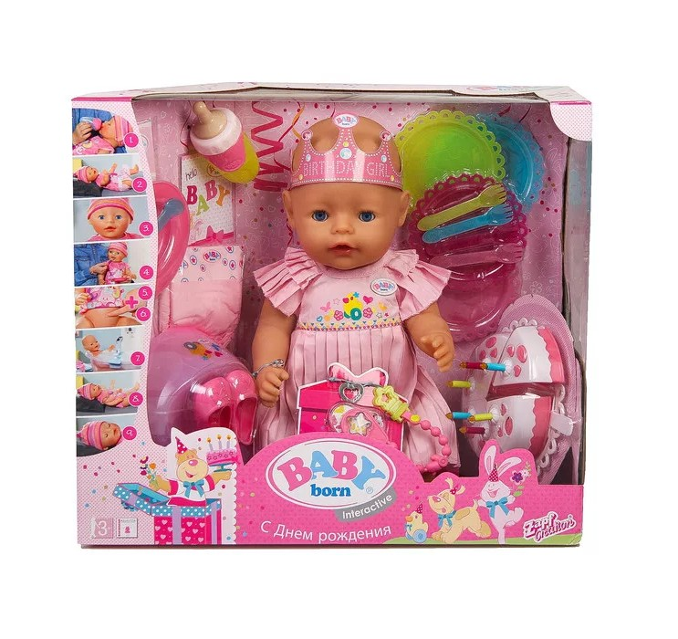 Baby born  825-129 Кукла интерактивная нарядная с тортом 43см в. к