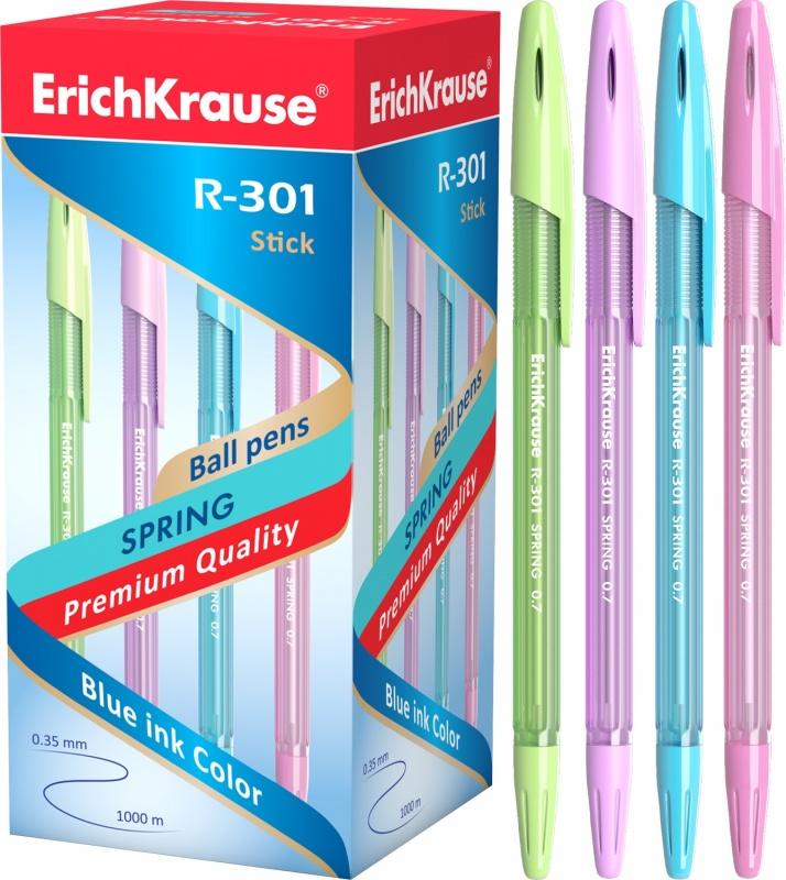 ErichKrause  39532 Ручка шариковая R-301 Spring Stick&Grip 0. 7, цв. чернил синий (в. к по 50шт. )