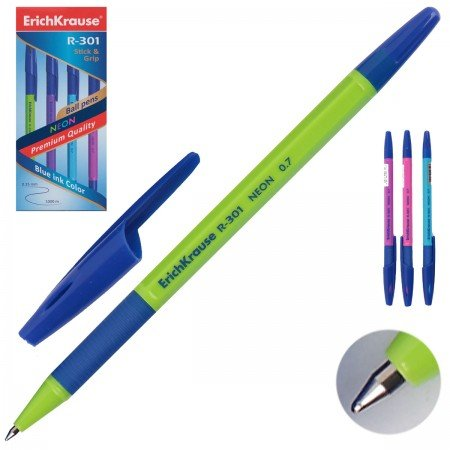 ErichKrause  42751 Ручка шариковая R-301 Neon Stick&Grip 0. 7, цв. чернил синий (в. к по 50шт. )