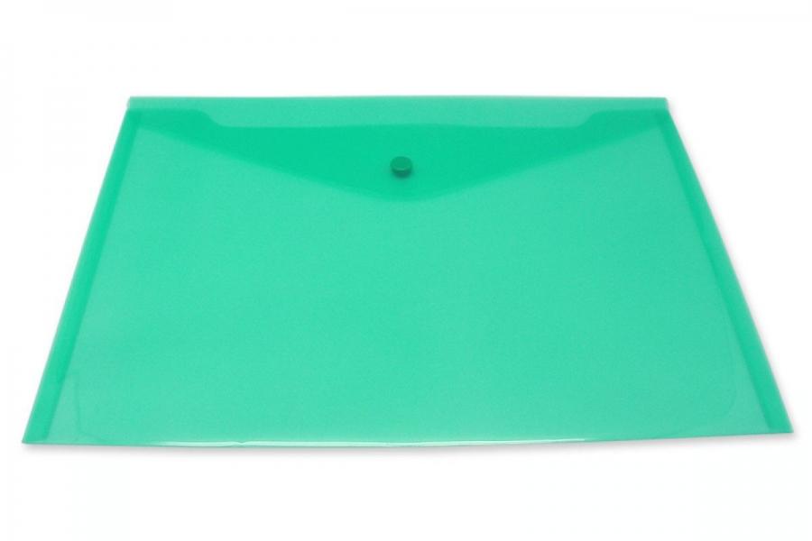 Inформат Пласт. конверт А4 на кнопке пластик 180мкм зелен.