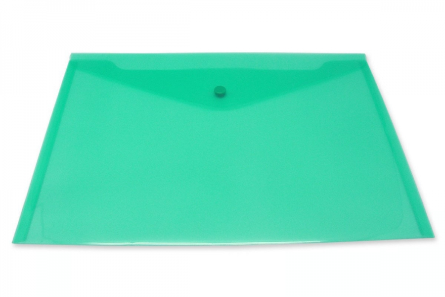 Inформат Пласт. конверты А4 зеленый пластик180мкм на кнопке